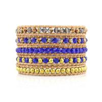 Wrap bracelet Royal blue and Gold