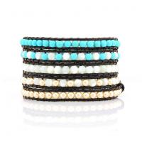 Pearl wrap bracelet with turquoise