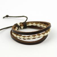Woven bracelet leather and fabric