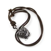 Leather necklace with owl