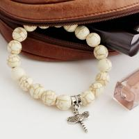 Howlite Bracelet with dragonfly pendant