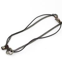 Men's Steel and Leather Necklace