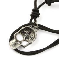Leather necklace with skull pendant
