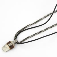 Men Jewelry Necklace Leather and Steel
