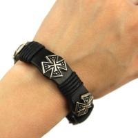 Black leather bracelet with buttons