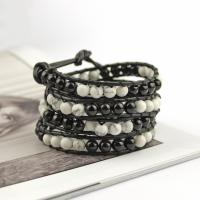 Agate wrap bracelet black and white