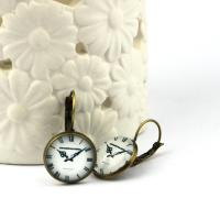 Earrings Clocks Collection bronze-white