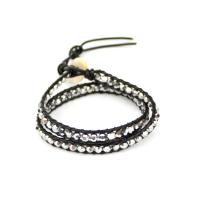 Leather bracelet with crystals black