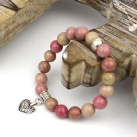 Rhodonite bracelet with heart