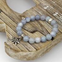 Angelite bracelet with edelweiss