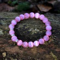 Cat's eye gemstone bracelet, pink