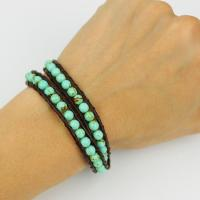 Turquoise wrap bracelet with leather cord