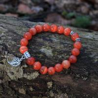 Cat's eye gemstone bracelet, orange red