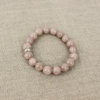 Jade bracelet in dusty rose with silver plated part