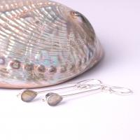 Long earrings with labradorite