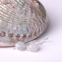 Silver moonstone earring