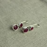 Ruby double earrings silver-plated