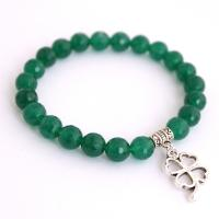 Green Jade Bracelet with silver clover