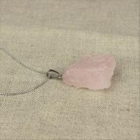 Raw rose quartz pendant with chain