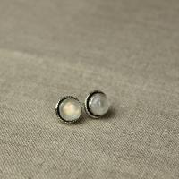 Round large studs with moon stone