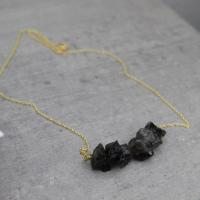 Raw tourmalin necklace golden