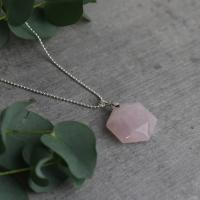 Rose Quartz Hexagon Pendant