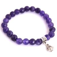 Purple Agate Bracelet with silver flower basket