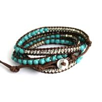 Wrap Bracelet from Howlite beads in turquoise