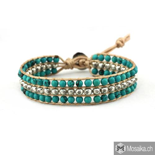 99487a73ea2 Turquoise bracelet with metallic beads
